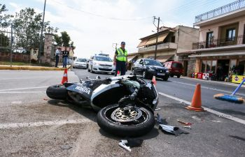 a motorcycle on a road after an accident